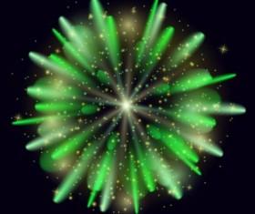Green holiday fireworks vector illustration