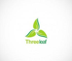 Green leaf organic circle vector logo