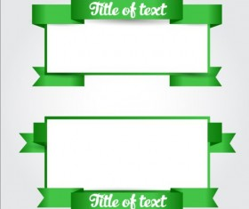 Green ribbon with blank banners vector