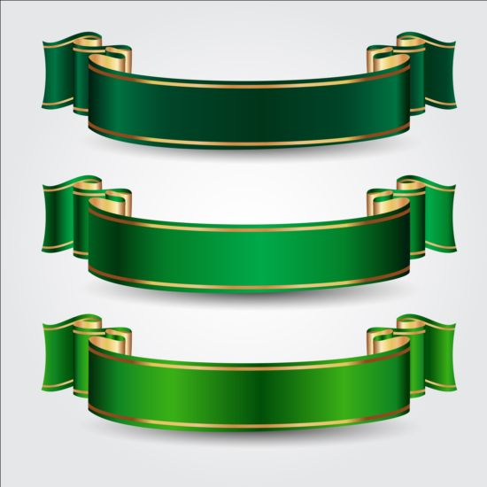 Green Ribbons Vectors Set Vector Ribbon Free Download