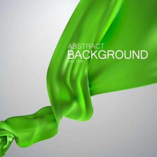 Green silk fabric background vector