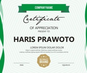 Green stripes certificate template design vector