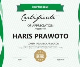 Green stripes certificate template design vector