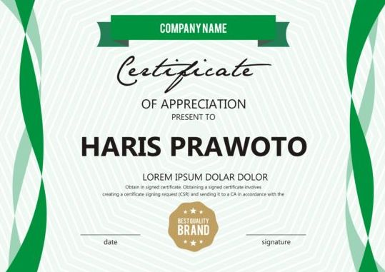 Green Stripes Certificate Template Design Vector Free Download