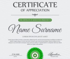 Green styles certificate template vector