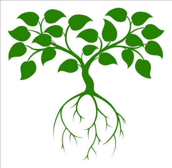 Green tree logos vector design