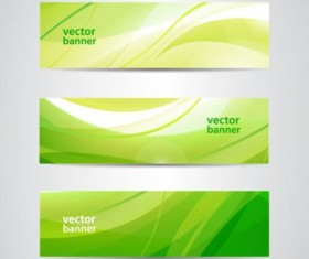 Green wave banners set vector 01