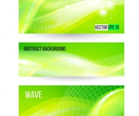 Green wave banners set vector 02
