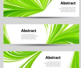 Green wave banners set vector 03