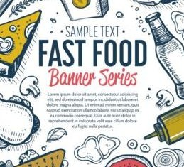 Hand drawn fast food banners vector 01