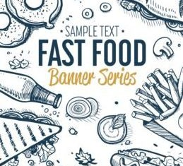 Hand drawn fast food banners vector 02