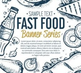 Hand drawn fast food banners vector 03