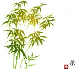 Hand drawn green bamboo background vector 01