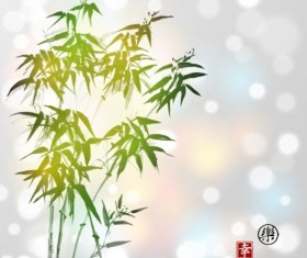Hand drawn green bamboo background vector 02