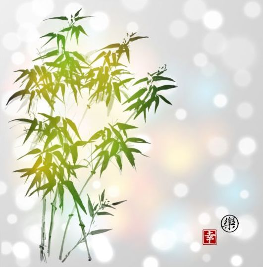 Hand drawn green bamboo background vector 02 - Vector Background ...