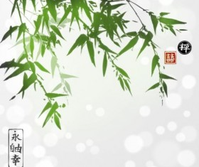 Hand drawn green bamboo background vector 03