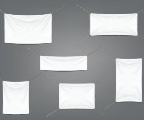 Hanging white banners vector 01
