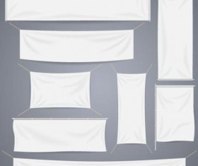 Hanging white banners vector 02