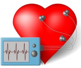 Heart with healthy medical background vector 02