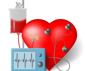Heart with healthy medical background vector 07