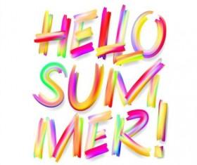 Hello summer colored text design vector
