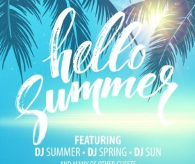 Hello summer party flyer design vector 01