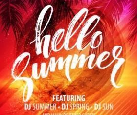 Hello summer party flyer design vector 02