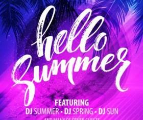 Hello summer party flyer design vector 03
