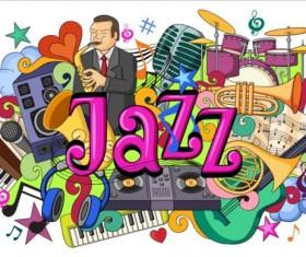 Jazz music doodle vector illustration