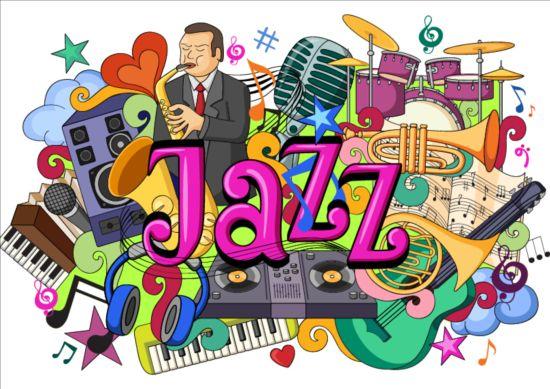 Jazz Music Doodle Vector Illustration Free Download