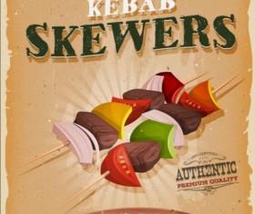 Kebab skewers vintage poster vector