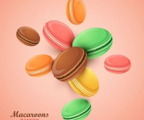 Macaroons with pink background vector 01