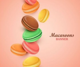 Macaroons with pink background vector 02