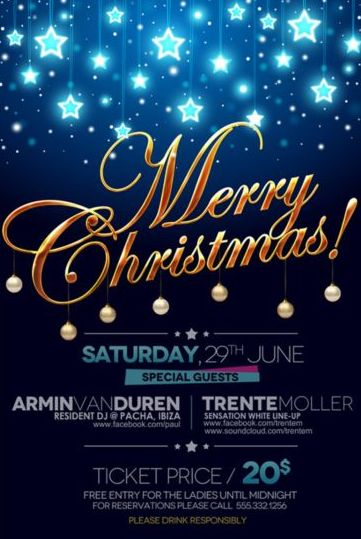 Merry Christmas Party Psd Template Material