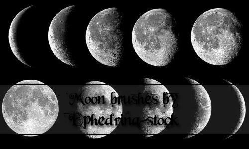 Moon photoshop brushes set