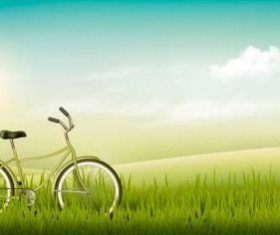 Nature summer background with green grass and bike vector 01