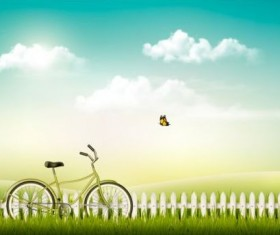 Nature summer background with green grass and bike vector 02