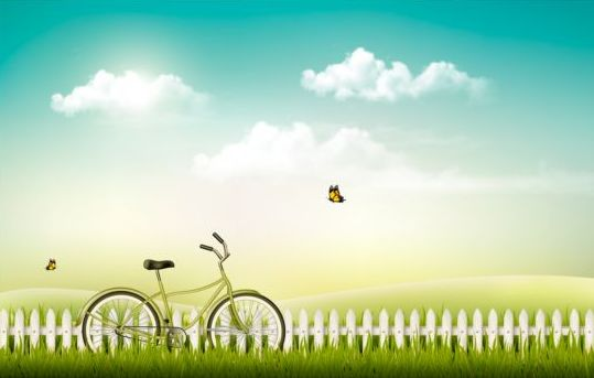 Nature Summer Background With Green Grass And Bike Vector