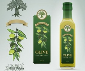 Olive oil bottle with stickers illustration vector