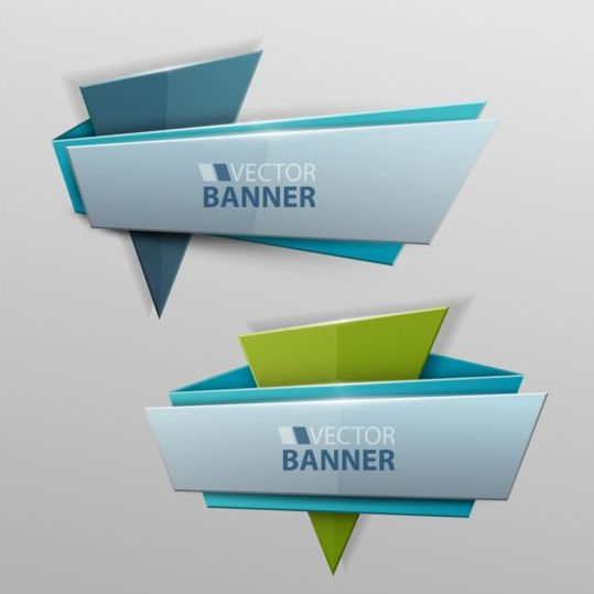 Origami banners modern vectors 06