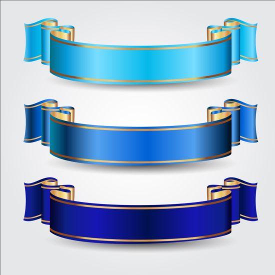 Ornate blue ribbons vectors