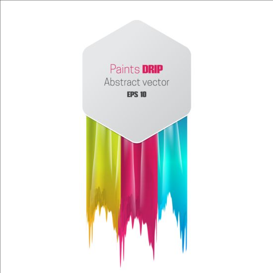 Paints dripping abstract background vector 04