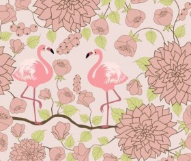 Pattern with flamingo vector