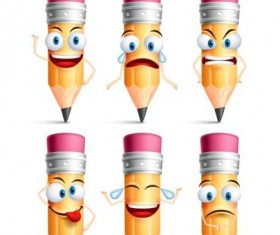 Pencil funny smile icons