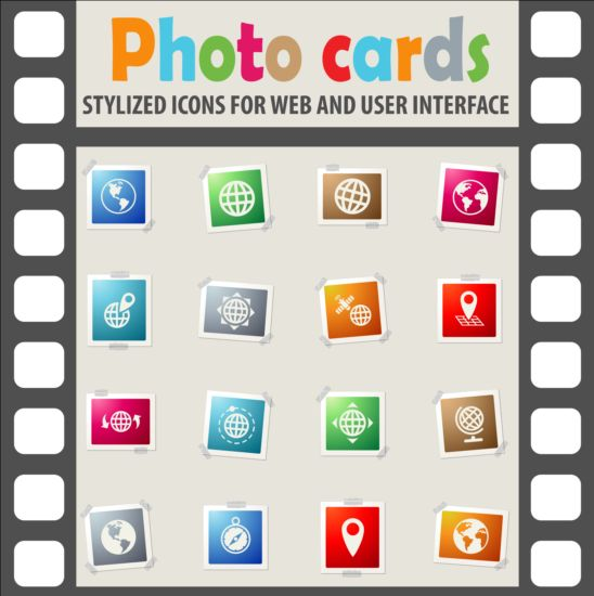 Photo cards with photo iocns vector set 01