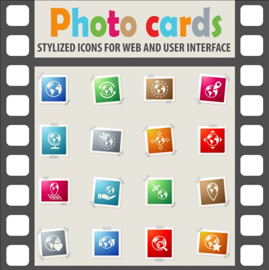 Photo cards with photo iocns vector set 03