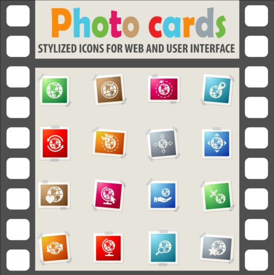 Photo cards with photo iocns vector set 06