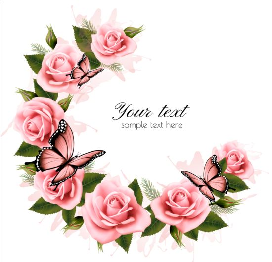 Pink Flowers And Pink Butterflies Vector Background