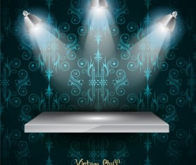 Promotion stand with decor background vector 01