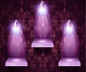 Promotion stand with decor background vector 02